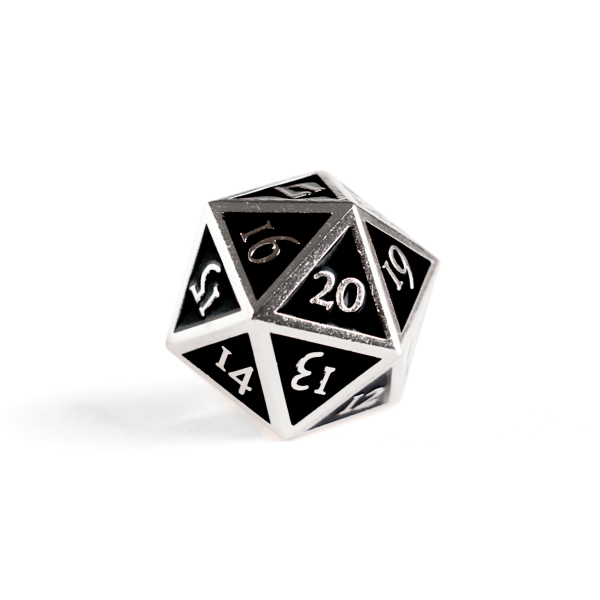 Metal D20 Spindown dice - Jet Steel