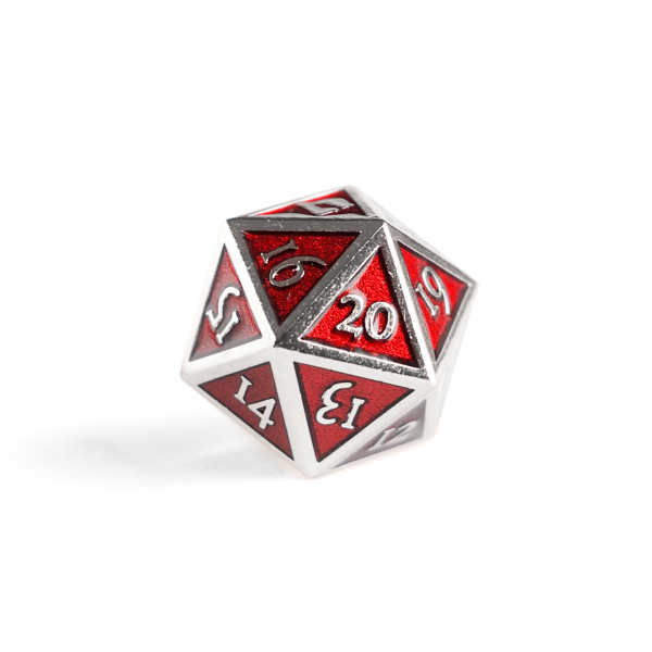 Metal D20 Spindown dice - Ruby Steel