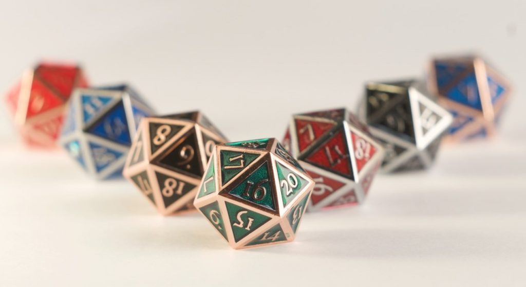 Eldersteel Metal D20 dice family