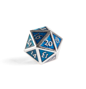 Metal D20 Spindown dice - Sapphire Steel