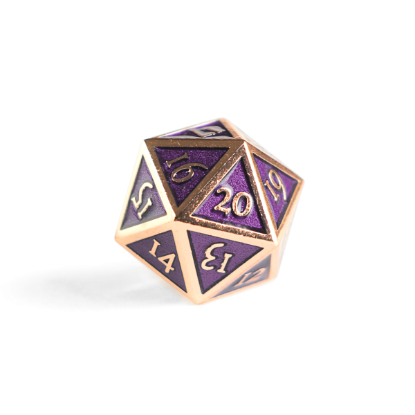 Metal D20 Spindown dice - Amethyst Copper