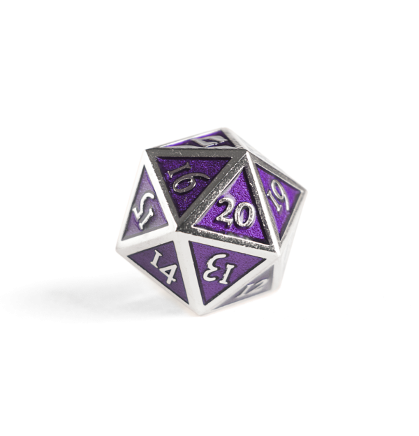 Metal D20 Spindown dice - Amethyst Steel